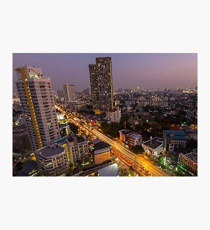 Aerial view of Bangkok at twilight night, Thailand Photographic Print