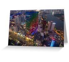 Skyline of Ho Chi Minh city by night, Vietnam Greeting Card