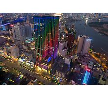 Skyline of Ho Chi Minh city by night, Vietnam Photographic Print