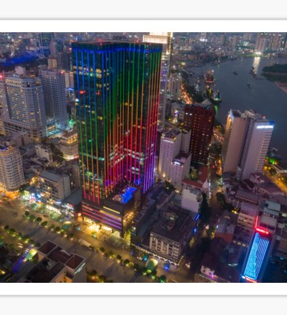 Skyline of Ho Chi Minh city by night, Vietnam Sticker