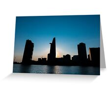 Sunset in Saigon with Bitexco tower silhouette, Vietnam Greeting Card