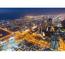 Dubai night city skyline with modern skycrapers Photographic Print
