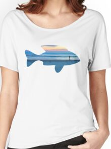 Fish & Seascape Fisherman Silhouette  Women's Relaxed Fit T-Shirt