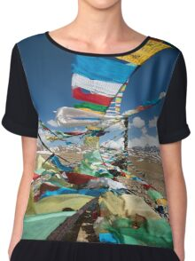 Praying flags in Tibet Chiffon Top