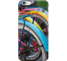 Rear view of colorful bicycles in Guatape, Colombia iPhone Case/Skin