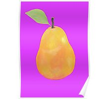 Pear painting on purple background Poster