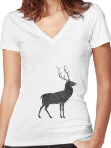 Stag grazing on the stars Women's Fitted V-Neck T-Shirt
