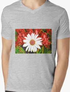 Study in Red and White Mens V-Neck T-Shirt
