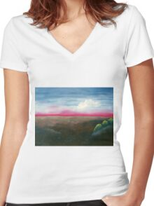 Red Horizon Women's Fitted V-Neck T-Shirt