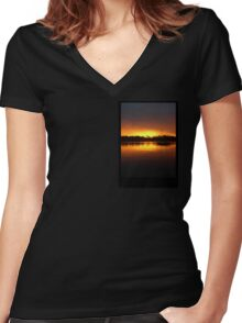 Boat Silhouette Women's Fitted V-Neck T-Shirt