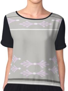 Feathers design in concrete, pink and white Chiffon Top