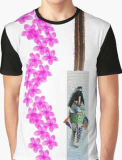 Pink Flowers And Paper Dolls Graphic T-Shirt