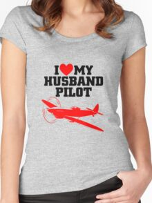 I love my Husband Pilot Women's Fitted Scoop T-Shirt
