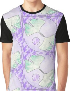 Light Purple Green Ginkgo Leaf Quilt Quilted Design Graphic T-Shirt