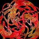 Lizards Mandala  night - red & gold by DreaMground