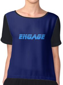 Star Trek - Engage - Captain Picard T-Shirt Chiffon Top