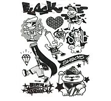 Black and White Graffiti Characters  Photographic Print