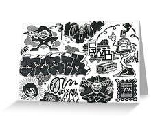Black and White Graffiti Characters  Greeting Card