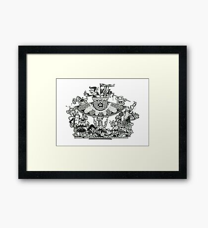 Black and White Graffiti Characters  Framed Print