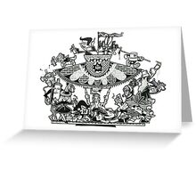 Black and White Graffiti Characters  Greeting Card