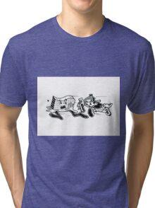 Black and White Graffiti Characters  Tri-blend T-Shirt