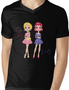 Pop Art cute fashion girls Mens V-Neck T-Shirt