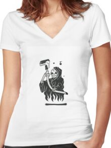 Black and White Graffiti Character Women's Fitted V-Neck T-Shirt