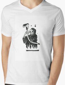 Black and White Graffiti Character Mens V-Neck T-Shirt