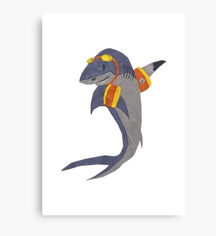 Swimming Shark Isolated Canvas Print