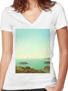 Ocean landscape Women's Fitted V-Neck T-Shirt