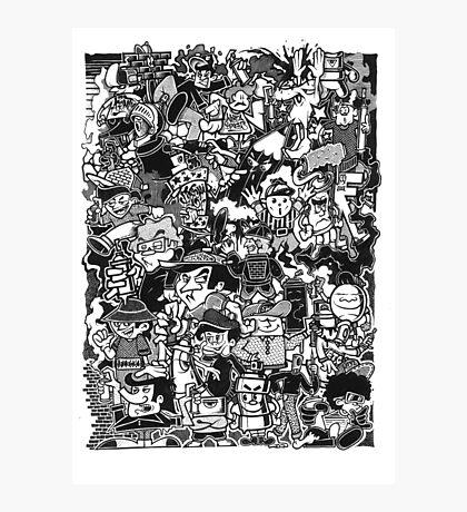 Black and White Graffiti Characters  Photographic Print