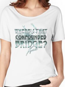 ICARUS THROWS THE HORNS/WHERE'S THAT CONFOUNDED BRIDGE? light blue Women's Relaxed Fit T-Shirt