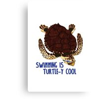 Swimming is Turtle-y Cool! Canvas Print