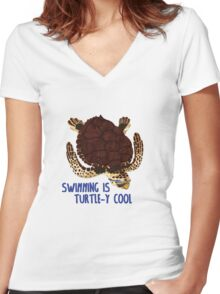 Swimming is Turtle-y Cool! Women's Fitted V-Neck T-Shirt