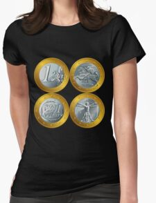 money gold coin euro Womens Fitted T-Shirt