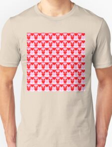 Love Heart Red Pink and White Check Pattern Unisex T-Shirt