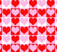 Love Heart Red Pink and White Check Pattern Sticker