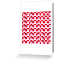 Love Heart Red Pink and White Check Pattern Greeting Card