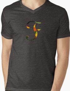Floral F Mens V-Neck T-Shirt