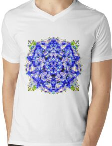Electric Blue Jewel Mandala Mens V-Neck T-Shirt