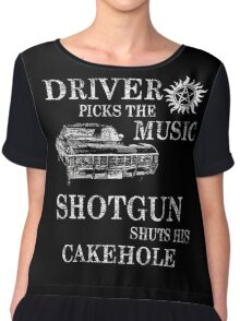 SUPERNATURAL DRIVER PICKS THE MUSIC SHOTGUN SHUTS HIS CAKEHOLE Chiffon Top