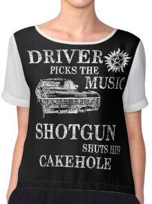 SUPERNATURAL DRIVER PICKS THE MUSIC SHOTGUN SHUTS HIS CAKEHOLE Chiffon Top