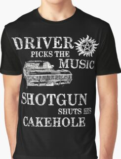 SUPERNATURAL DRIVER PICKS THE MUSIC SHOTGUN SHUTS HIS CAKEHOLE Graphic T-Shirt