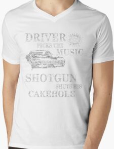 SUPERNATURAL DRIVER PICKS THE MUSIC SHOTGUN SHUTS HIS CAKEHOLE Mens V-Neck T-Shirt