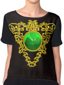 ST. PATRICK'S CELTIC HEART WITH GREEN SHAMROCK Chiffon Top