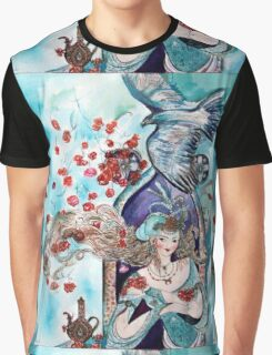 ORIENTAL FAIRY TALE / PRINCESS ,RED ROSES AND FLYING  HAWK Graphic T-Shirt