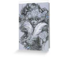 Fairy lady with white feathers and roses. Greeting Card