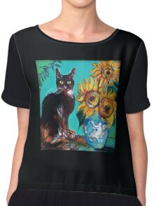 SUNFLOWERS WITH BLACK CAT IN BLUE TURQUOISE  Chiffon Top