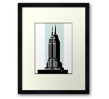 Empire State Building Deco Swing in blue Framed Print