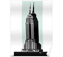Empire State Building Deco Swing in blue Poster